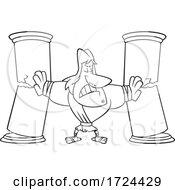Cartoon Black And White Samson Breaking The Columns