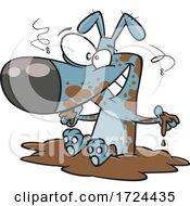 Cartoon Filthy Dog Sitting In Mud