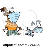 Cartoon Man And Dog Wearing Masks And Taking A Walk
