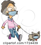 Cartoon Lady And Dog Wearing Masks And Taking A Walk