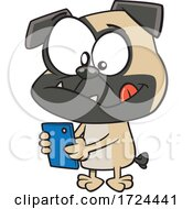 Cartoon Pug Dog Texting by toonaday