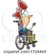 Cartoon Female Teacher In A Wheelchair