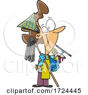 Cartoon Happy Woman Ready To Do Fall Or Spring Cleaning