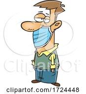 Cartoon Man Wearing A Mask Under His Nose