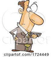 Cartoon Business Man Looking Angry And Checking His Watch