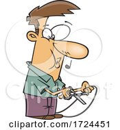 Cartoon Man Cutting A Cord