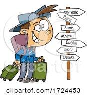Cartoon Happy Traveling Boy
