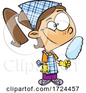 Cartoon Girl Cleaning And Holding A Duster