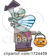 Cartoon Covid Halloween Frankenstein Wearing A Mask And Trick Or Treating