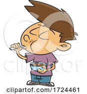 Cartoon Boy Eating Pudding by toonaday