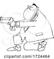 10/01/2020 - Cartoon Man Wearing A Mask Kneeling And Pointing A Gun