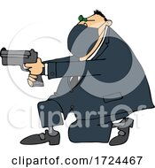 Cartoon Man Wearing A Mask Kneeling And Pointing A Gun