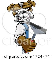 Poster, Art Print Of Bulldog Car Or Window Cleaner Holding Squeegee