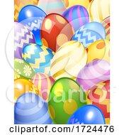 Poster, Art Print Of Easter Eggs Background Cartoon