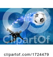 Poster, Art Print Of Soccer Silhouette Man Abstract Football Background