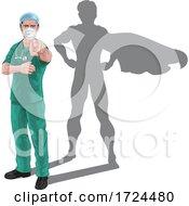 Superhero Nurse Doctor With Super Hero Shadow