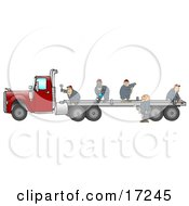 Group Of Worker Men In Blue Coveralls Using Tools To Fix Or Build A Flatbed Trailer That Is Attached To A Red Big Rig Truck Clipart Illustration