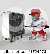 Poster, Art Print Of 3d Sports Man Wearing A Mask On A White Background
