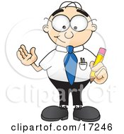 Male Caucasian Office Nerd Business Man Mascot Cartoon Character Holding A Yellow Number 2 Pencil With An Eraser Tip