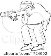 Cartoon Police Man Aiming A Gun