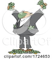 Cartoon Rich Businessman Wearing A Mask And Standing In A Pile Of Money