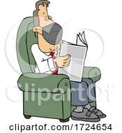 Cartoon Businessman Wearing A Mask And Reading A Newspaper