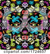 Poster, Art Print Of Seamless Halloween Pattern With Creatures