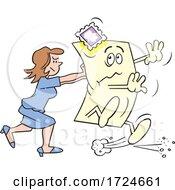 Cartoon Business Woman Pushing The Envelope