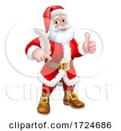 Santa Claus Quill Pen Thumbs Up Cartoon