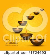 Diwali Background With Oil Lamps