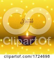 Diwali Background With Oil Lamp And Stars Design