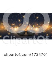 Diwali Banner Design With Oil Lamps And Bokeh Lights