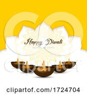 Elegant Diwali Background With Oil Lamps And Mandala Design