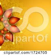 Elegant Diwali Background With Oil Lamps Design
