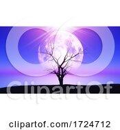 3D Old Gnarly Tree Against A Moonlit Landscape