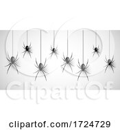 Halloween Background With Hanging Spiders
