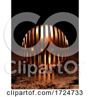 3d Copper Banded Sphere On Metallic Floor Against Black Background