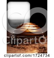 Poster, Art Print Of 3d Copper Coloured Twisted Metallic Sphere In Dusty Environment With Light Behind