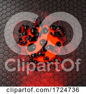3d Red Glowing Ball Of Liquid And Metallic Elements Against A Hexagon Background