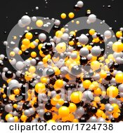 3d Explosion Of Yellow Gray And Black Spheres Against A Black Background