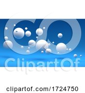 Poster, Art Print Of 3d Blue Background With Random White Spheres Floating