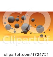 3d Ominous Black Spheres Floating Against A Fiery Orange Background
