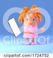 10/08/2020 - 3d Cute Girl In Pink Dress Holding A Smartphone Tablet Device