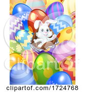 Poster, Art Print Of Easter Bunny Eggs Background Cartoon