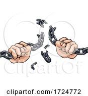 Poster, Art Print Of Hands Breaking Chain Links Freedom Design