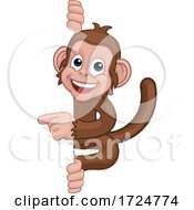 Poster, Art Print Of Monkey Cartoon Character Animal Pointing At Sign