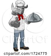 Rhino Chef Mascot Cartoon Character by AtStockIllustration