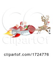 Santa Christmas Space Rocket Sled Ship Sleigh