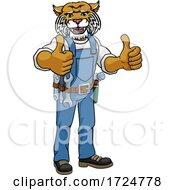 Wildcat Construction Cartoon Mascot Handyman by AtStockIllustration