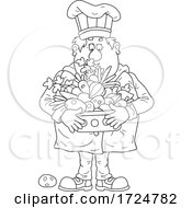 Chubby Male Chef Holding A Basket Of Produce